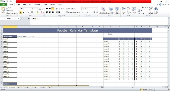 Football Calendar Excel Template 2019