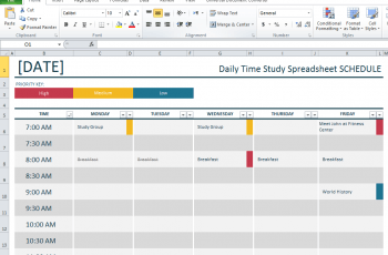 Study Timetable Template for Students Download Free 2020