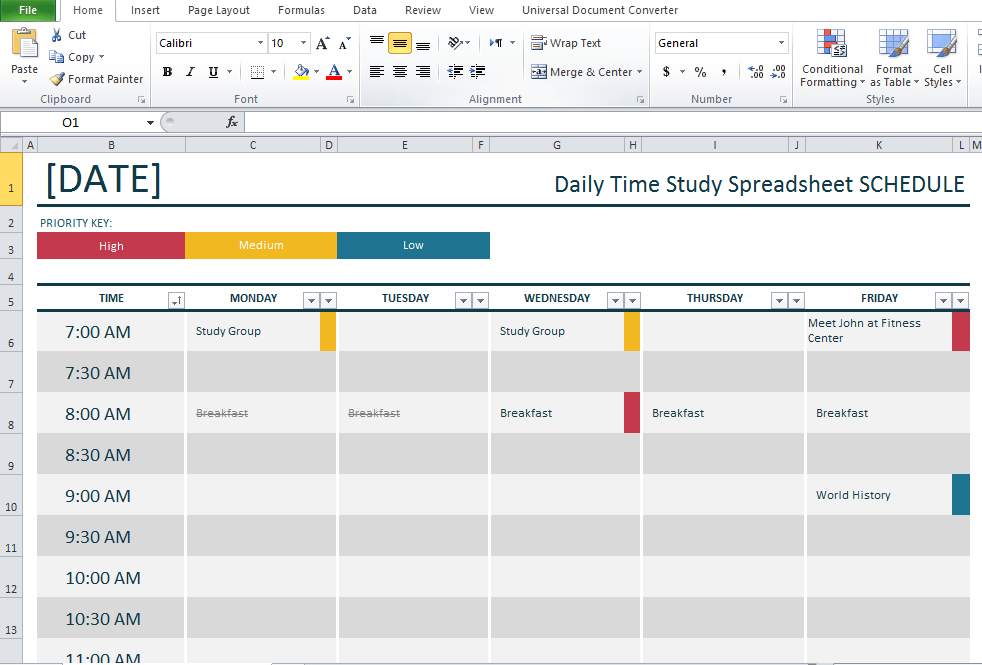 Daily Study Timetable Template