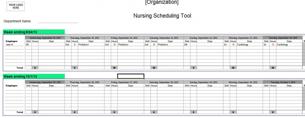 Editable Nursing Schedule Template