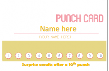 Editable Punch Card Template [100%] Free Download