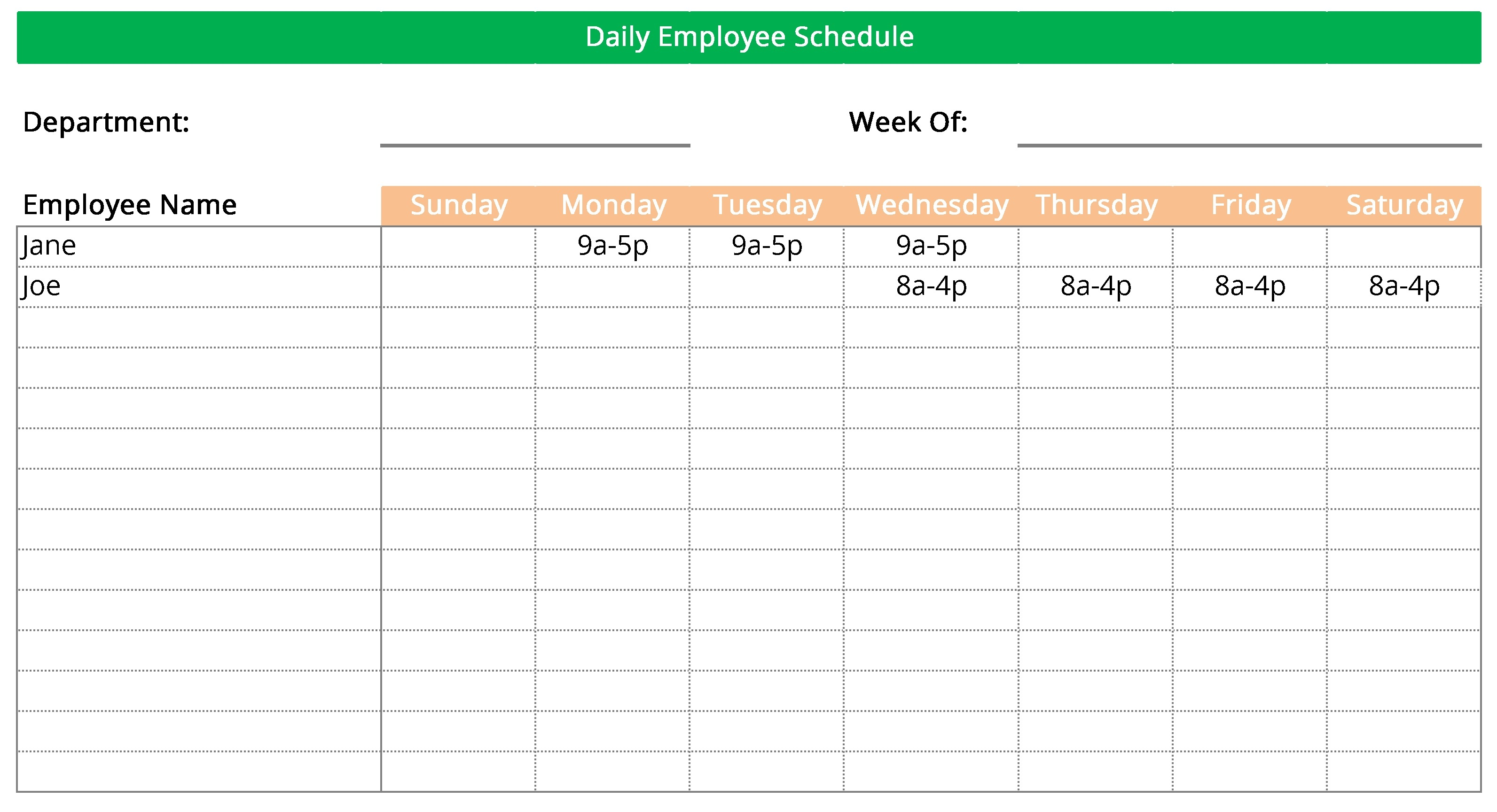 Editable Work Schedule Maker Template 100% Free