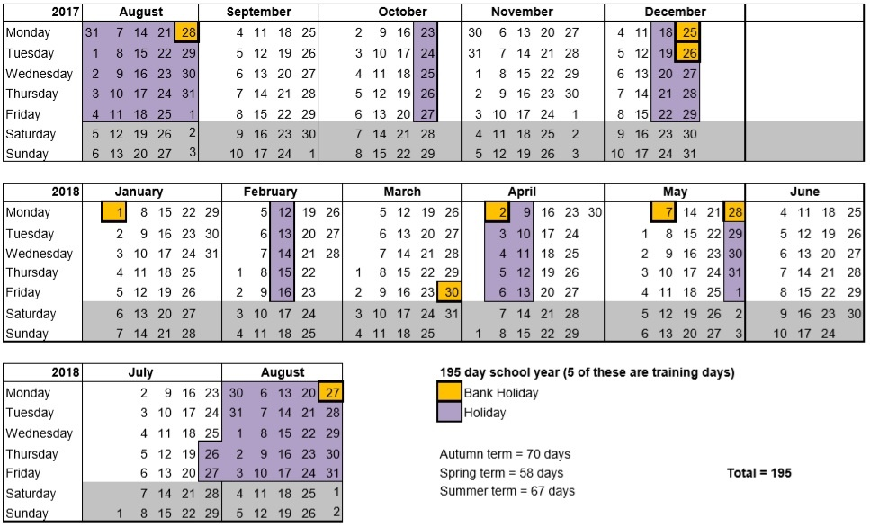 Student Academic Calendar Template