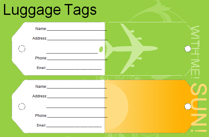 Editable Luggage Tag Template