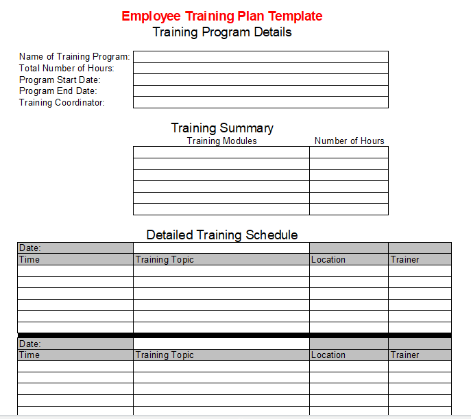 Employee Training Plan Template Free Download [Word, PDF]
