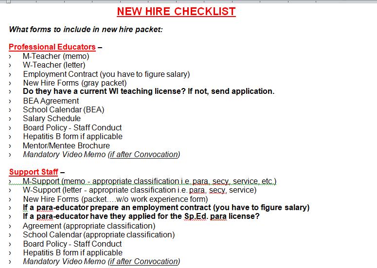 New Employee Orientation Checklist Template