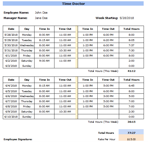 Weekly Timecard Template