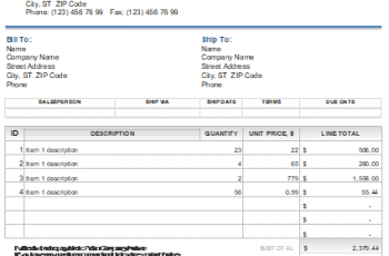 Template of Sales Invoice [Excel+Word] Free Download