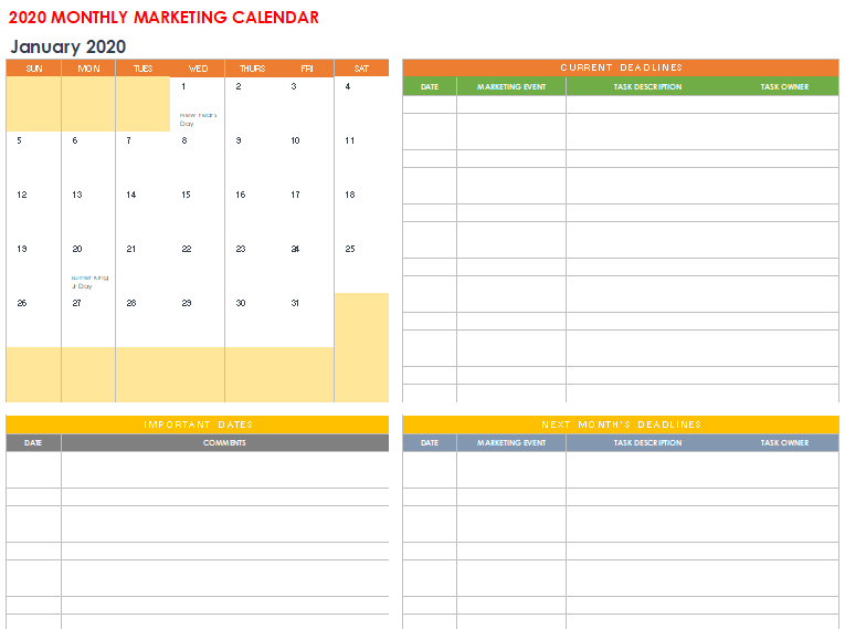 Free Printable Marketing Calendar Example [Excel, Word]