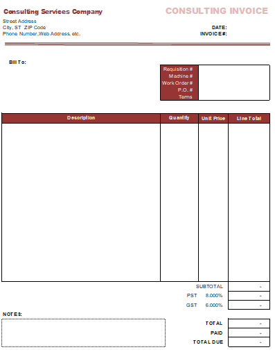 invoice for consulting services