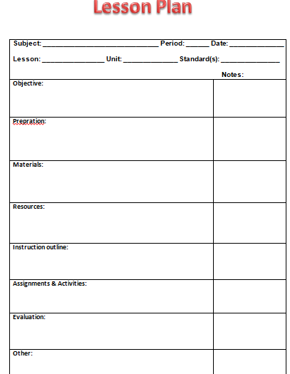 a lesson plan example