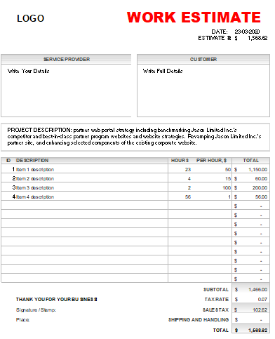 work estimate quote teplate