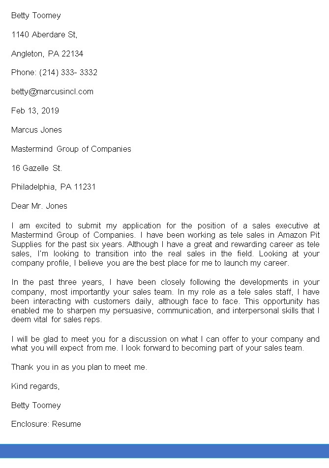 Sales Executive Career Change Cover Letter
