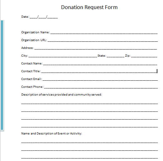 Request For Donation Form Simple
