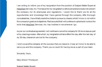 10 + Letter of Resignation Template word Free Download