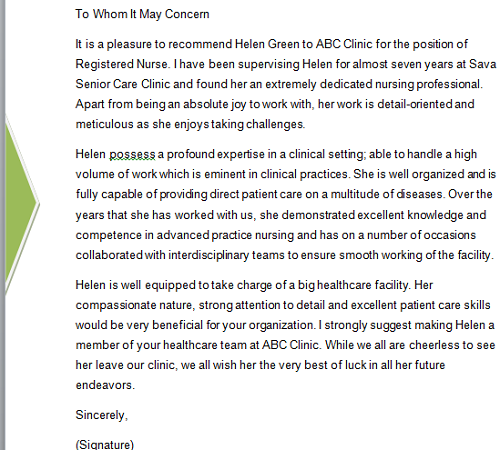 Nurse Recommendation Letter Template