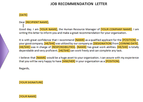 Free Job Recommendation Letter