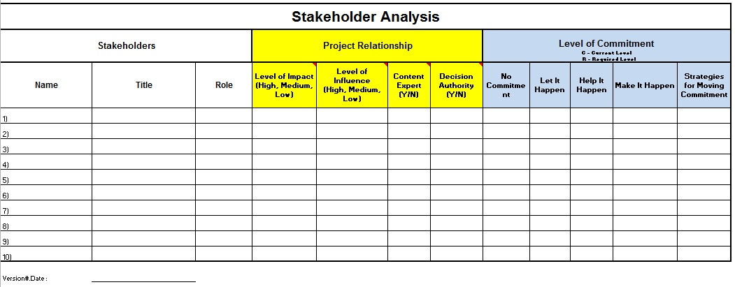 stakeholder map excel