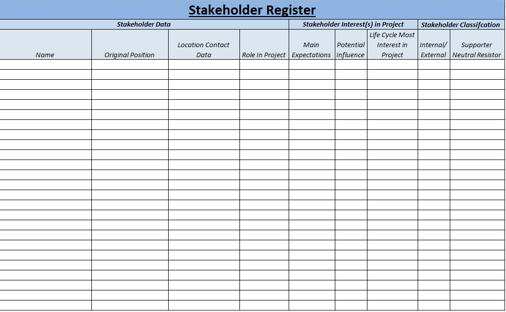 stakeholder grid template