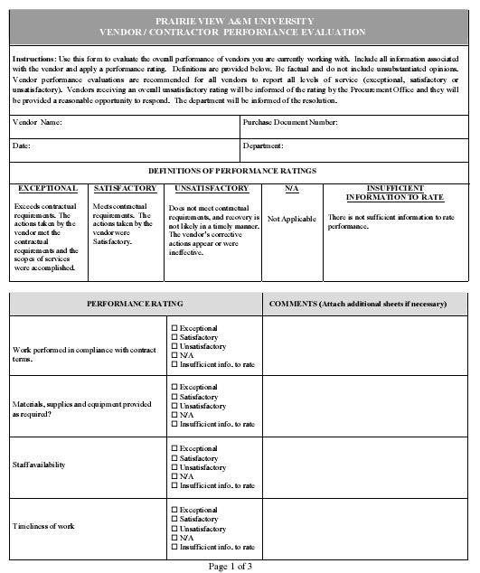 supplier performance evaluation criteria