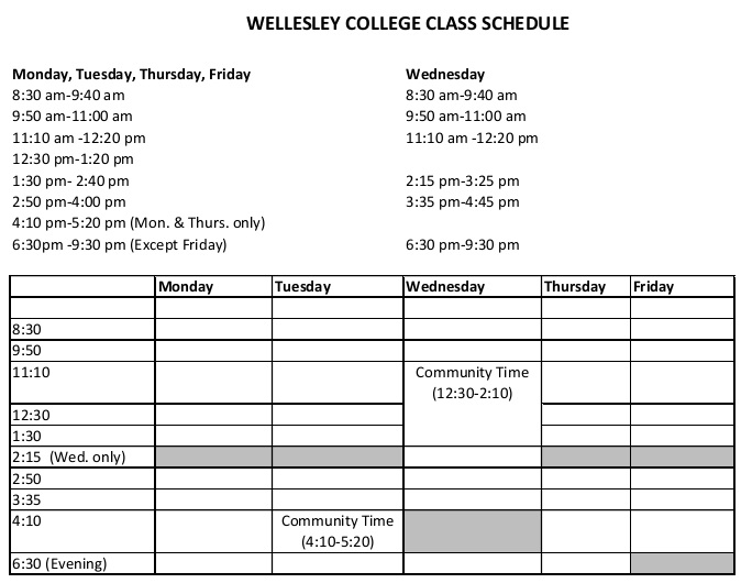 college timetable template