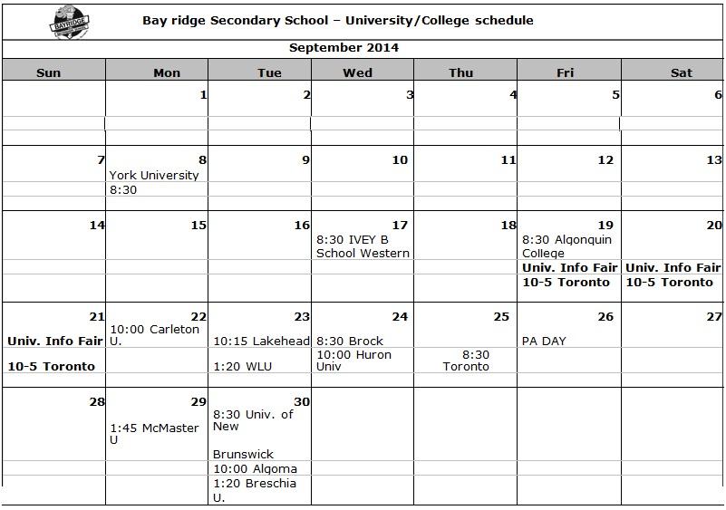 college class schedule template word