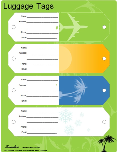 simple luggage tag template