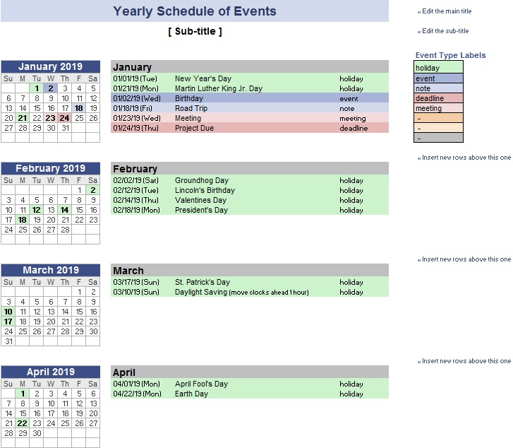 calendar date planner