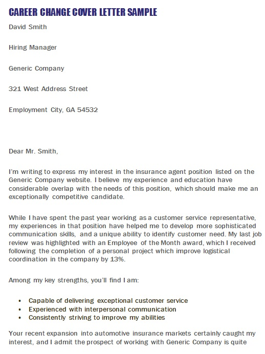 industry change cover letter