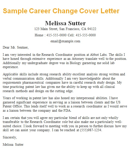 human resources cover letter career change