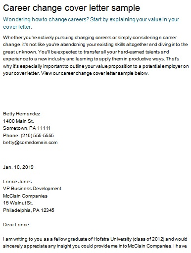 cover letter for someone changing careers