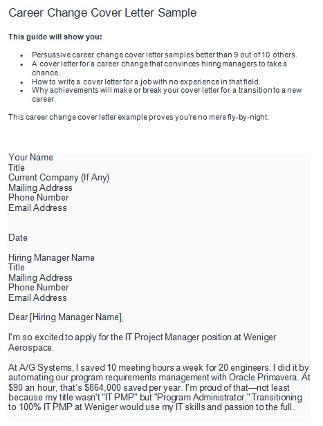 career change cover letter examples