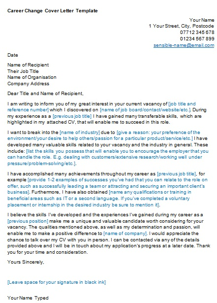 career change cover letter templates