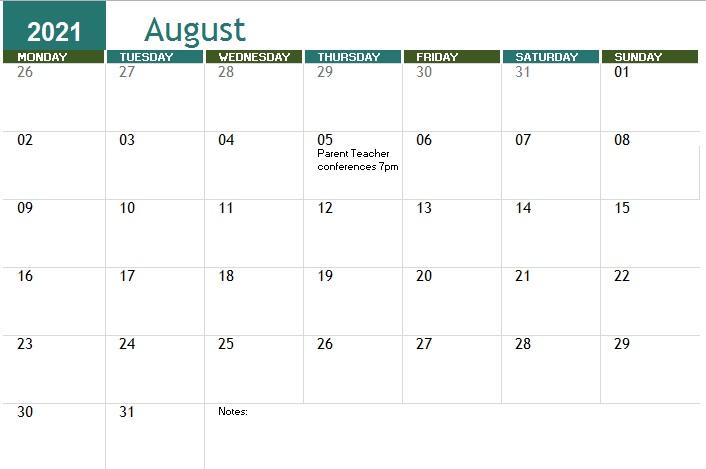 free printable academic calendar