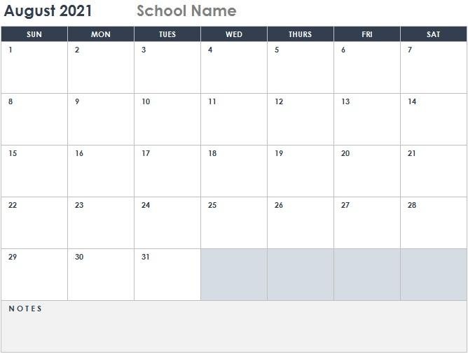 2021 academic calendar template