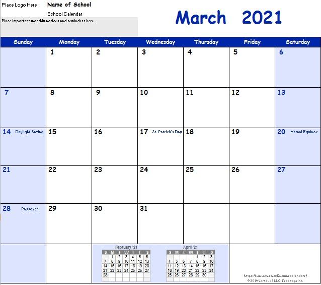 free academic calendar templates 2021