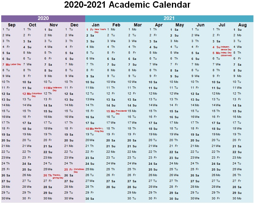 academic year planner template word 2021