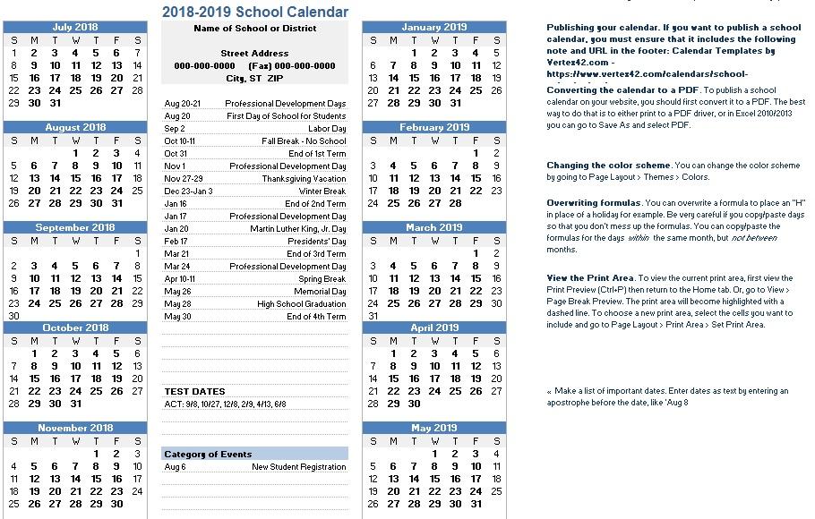 free academic calendar templates