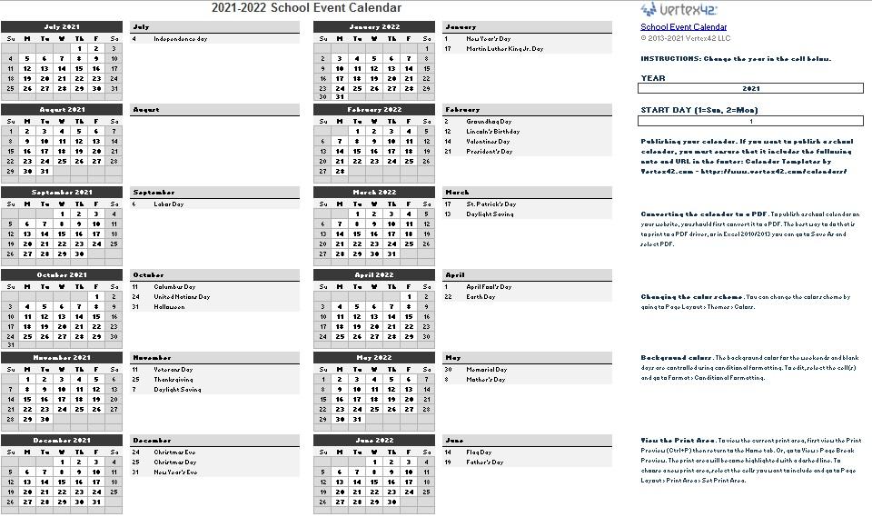 academic calendar templates