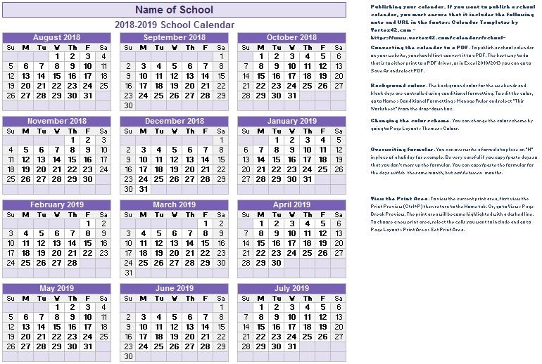 printable academic calendar templates