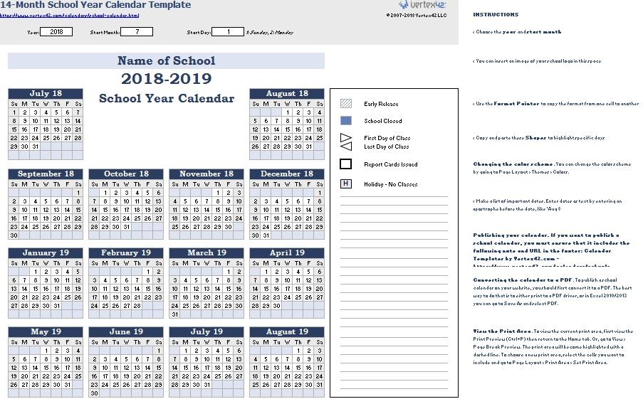 latest printable academic calendar templates