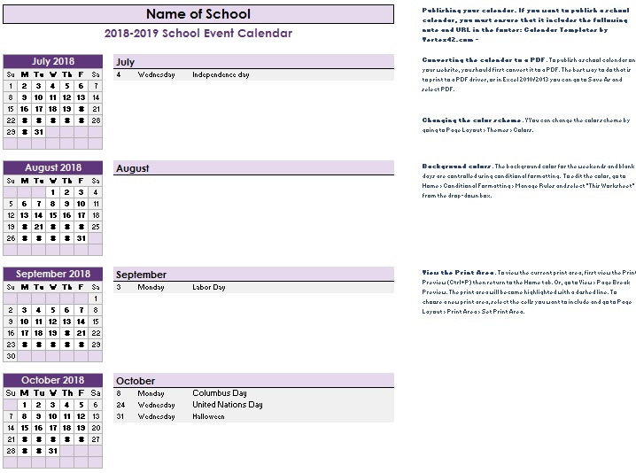 academic calendar templates excel