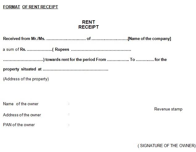 rent paid receipt format