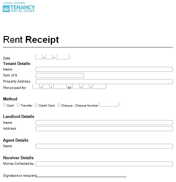 tenant receipt for rent paid