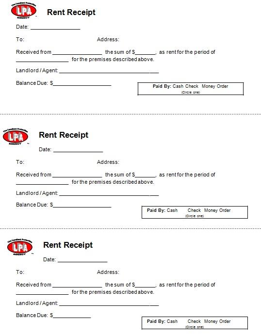 free rent payment receipt