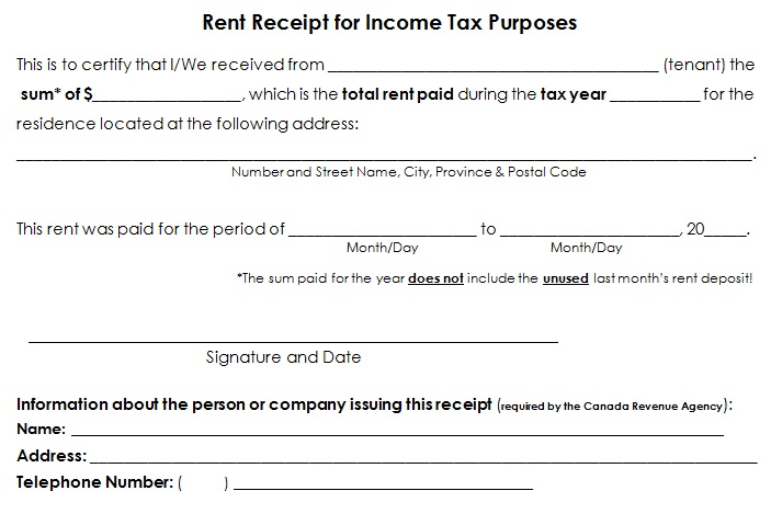 lease receipt template
