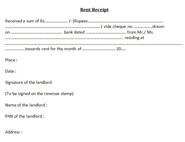 rent cash receipt format