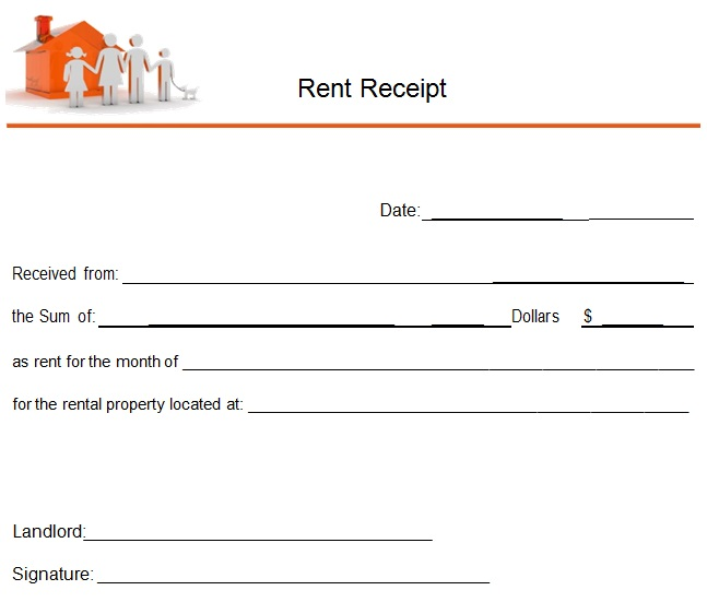 receipt of house rent payment