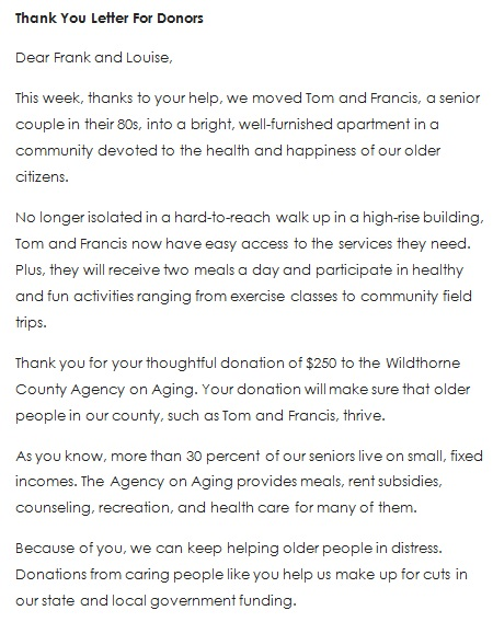 thank you for your donation message