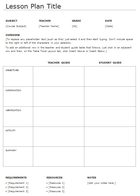 daily lesson plan template
